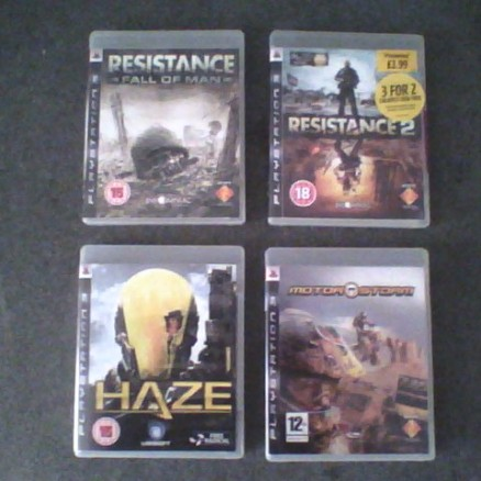 Haze, Motorstorm, Resistance 1 & 2  for PS3.